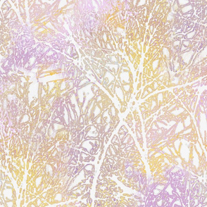 Tangled Tree Branches in Lilac and Peach