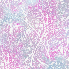 Tangled Tree Branches in Pink and Blue