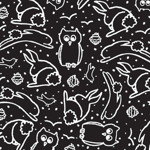 BW Painterly bunnies Owls and Birds ~ ©Claudette MacLean Oh My!TILE