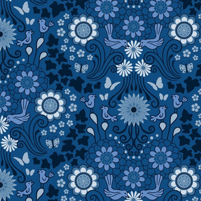Decorative Garden Scene Classic Blue
