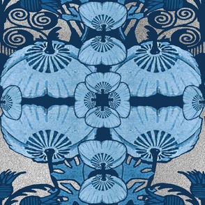 Art Nouveau Cornflower Blue on Silver Design Challenge
