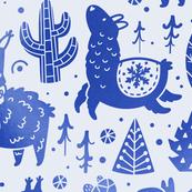 Christmas llamas in blue