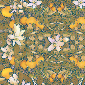 Orange Blossoms Art Nouveau Wallpaper