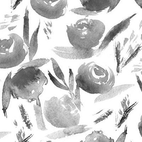 Silver lovely roses ★ watercolor black and white flowers for modern home decor, bedding, nursery
