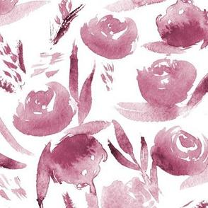 Burgundy lovely roses ♥ tonal monochrome flowers for modern home decor, bedding, nursery
