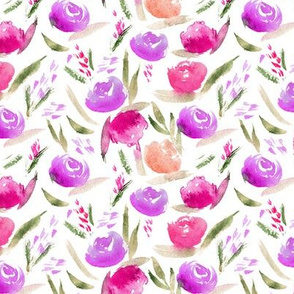 Watercolor lovely roses in pink and purple ★ smaller scale florals for modern home decor, nursery