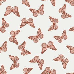 butterfly fabric - girl butterfly fabric, rust baby fabric, earth toned fabric - clay sfx1441