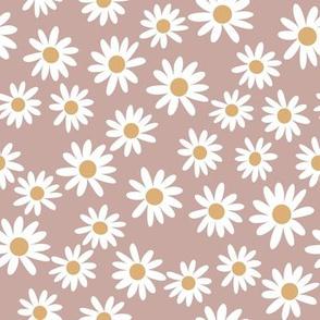 daisy print fabric - daisies, daisy fabric, baby fabric, spring fabric, baby girl, earthy - caramel