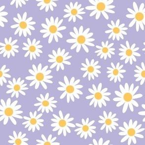 daisy print fabric - daisies, daisy fabric, baby fabric, spring fabric, baby girl, earthy - lilac