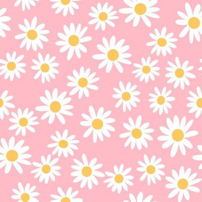 daisy print fabric - daisies, daisy fabric, baby fabric, spring fabric, baby girl, earthy - bright pink