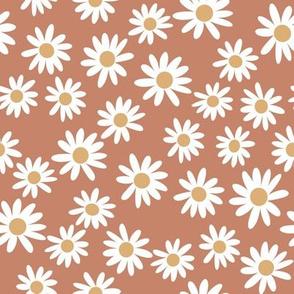 daisy print fabric - daisies, daisy fabric, baby fabric, spring fabric, baby girl, earthy - cinnamon