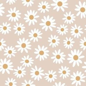 daisy print fabric - daisies, daisy fabric, baby fabric, spring fabric, baby girl, earthy - tan