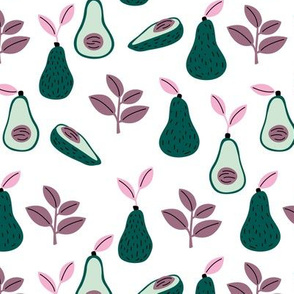 Romantic avocado garden leaves spring summer vegan design pink green