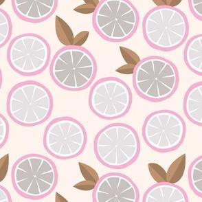 Summer citrus garden little lime and orange slices minimal fruit design pink brown