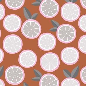 Summer citrus garden little lime and orange slices minimal fruit design copper brown pink