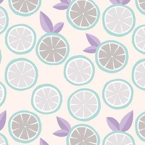 Summer citrus garden little lime and orange slices minimal fruit design mint blue lilac