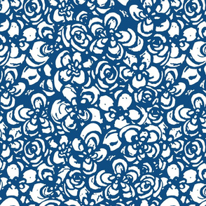 Painterly Floral Classic Blue and white