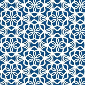 Snowflake Lace Classic Blue and White