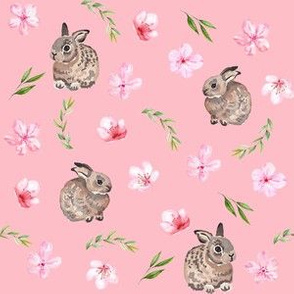 baby bunny fabric - easter egg fabric, easter fabric, cherry blossom fabric, easter floral fabric - pink