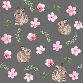 baby bunny fabric - easter egg fabric, easter fabric, cherry blossom fabric, easter floral fabric - charcoal