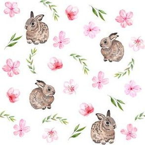 baby bunny fabric - easter egg fabric, easter fabric, cherry blossom fabric, easter floral fabric - white
