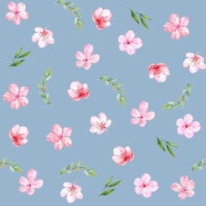 cherry blossom fabric - watercolor fabric, watercolor floral fabric, spring floral fabric, spring blossoms - blue