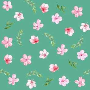 cherry blossom fabric - watercolor fabric, watercolor floral fabric, spring floral fabric, spring blossoms - green
