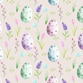 watercolor easter egg fabric - spring floral fabric, spring fabric, easter egg fabric, easter fabric, easter rabbit -beige