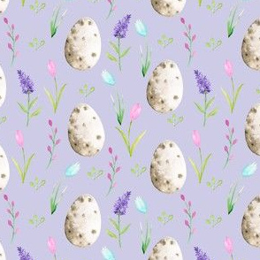watercolor easter egg fabric - spring floral fabric, spring fabric, easter egg fabric, easter fabric, easter rabbit - purple