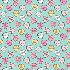 Conversation Candy Hearts Valentine Love on Mint Green Tiny Small