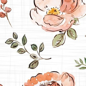 Watercolor Outlined Flowers on Texture Oversize