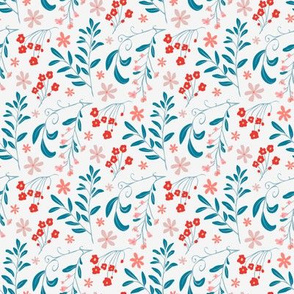 Ditsy flowers in bright red and pink