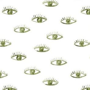 Khaki eyes ★ watercolor green eyes for modern home decor, bedding, contemporary design