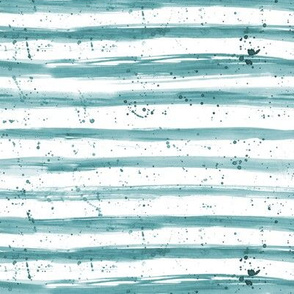 Turquoise watercolor stripes and splatters ★ painted horizontal brush stroke stripes for modern home decor, nursery