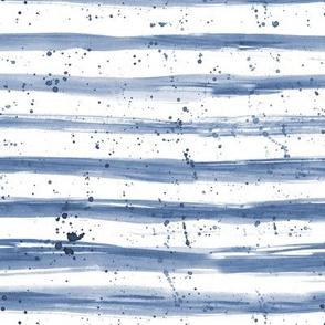 Denim blue brush stroke stripes with splatters ★ watercolor grungy horizontal stripes for modern home decor, nursery