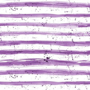 Amethyst stripes with splashes ★ watercolor brush strokes horizontal grungy stripes for modern nursery in purple shades
