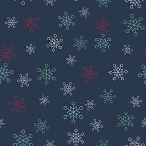 Vector blue seamless pattern background with snowflakes