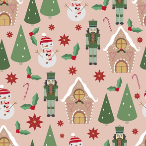 Vector  Xmas pink seamless pattern background