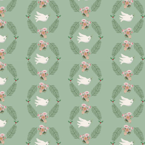 Vector green xmas  seamless pattern background with doves.