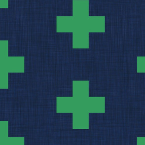 extra large kelly green swiss crosses on navy blue linen