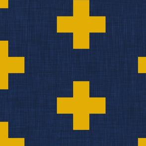 extra large mustard yellow swiss crosses on navy blue  linen