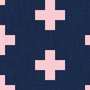 extra large pastel pink swiss crosses on navy blue linen