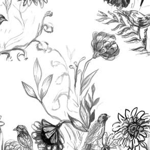 garden and birds watercolor painterly