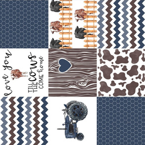 Farm//Love you till the cows come home//Hereford/Angus//Blues V3 - Wholecloth Cheater Quilt - Rotated