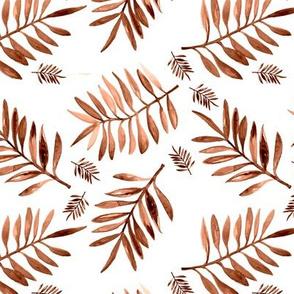 Watercolors palm leaves tropical beach minimal jungle island garden copper rust brown