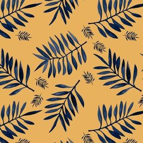 Watercolors palm leaves tropical beach minimal jungle island garden ochre yellow navy blue