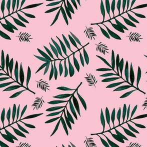 Watercolors palm leaves tropical beach minimal jungle island garden pink emerald green
