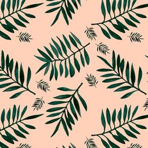 Watercolors palm leaves tropical beach minimal jungle island garden apricot green