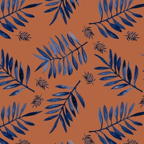 Watercolors palm leaves tropical beach minimal jungle island garden rust copper classic blue