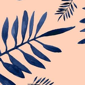 Watercolors palm leaves tropical beach minimal jungle island garden soft peach apricot navy blue JUMBO